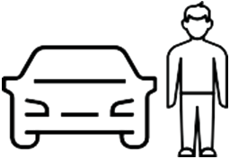 outline of person standing next to car
