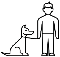 person holding dog on leash icon